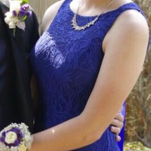 Dress Long Formal Prom Sapphire Blue 9/10 Sparkle